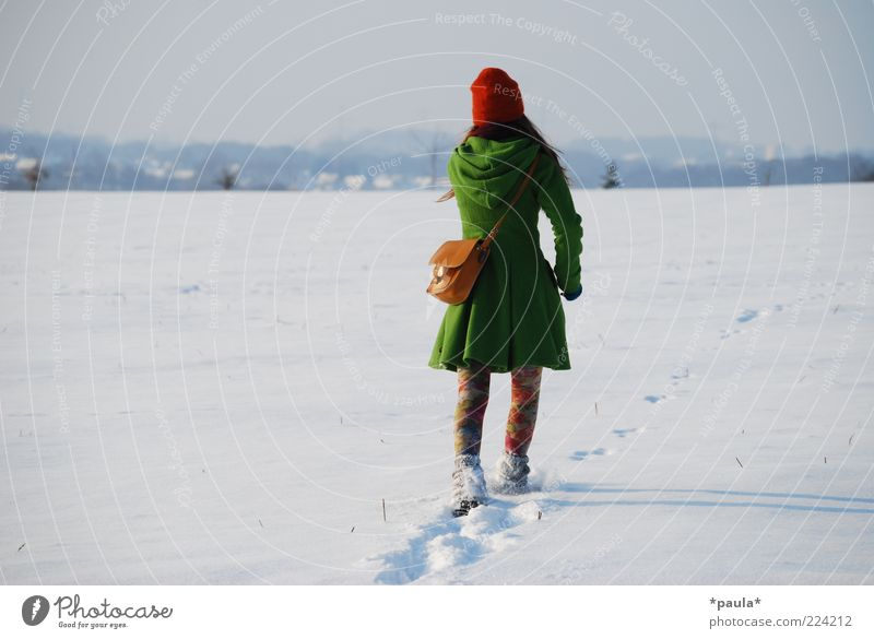 Human being Sky Youth (Young adults) Green White Red Winter Adults Far-off places Feminine Snow Landscape Movement Fashion Field Elegant