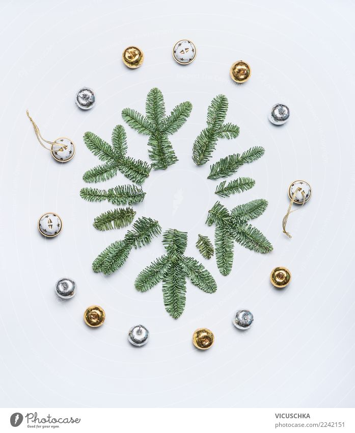 Snowflake from fir branches Style Design Vacation & Travel Winter Feasts & Celebrations Christmas & Advent Nature Plant Decoration Sign Ornament Tradition