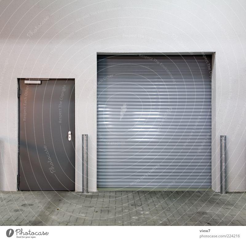 Wall (building) Gray Architecture Wall (barrier) Metal Door Facade Closed Design Arrangement Esthetic Modern Authentic Logistics Simple