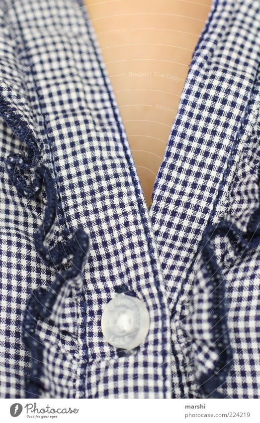 TOGGLE KNOBS Feminine Fashion Clothing Shirt Blue Buttons Checkered White Blouse Cloth pattern Pattern Frills Closed Skin Colour photo Central perspective