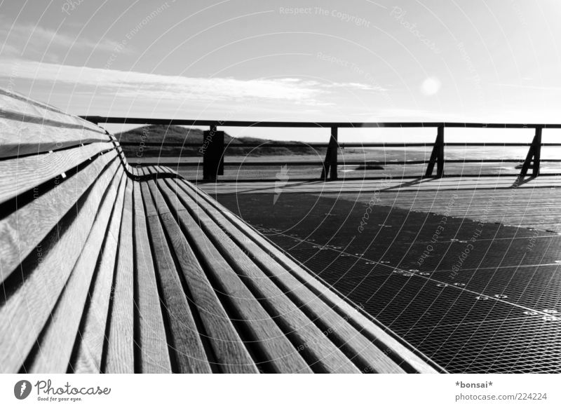 Sky Nature Vacation & Travel Calm Loneliness Relaxation Freedom Wood Horizon Bridge Bench North Sea Dune Handrail Beautiful weather