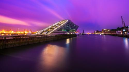 Blue Town Water Architecture Building Pink Office Europe Hamburg River Violet Harbour Elbe Office building