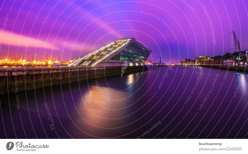 Dockland Hamburg Office Water River Town Harbour Building Architecture Blue Violet Pink Office building dockland Elbe Europe light stars Navigation Germany Sky