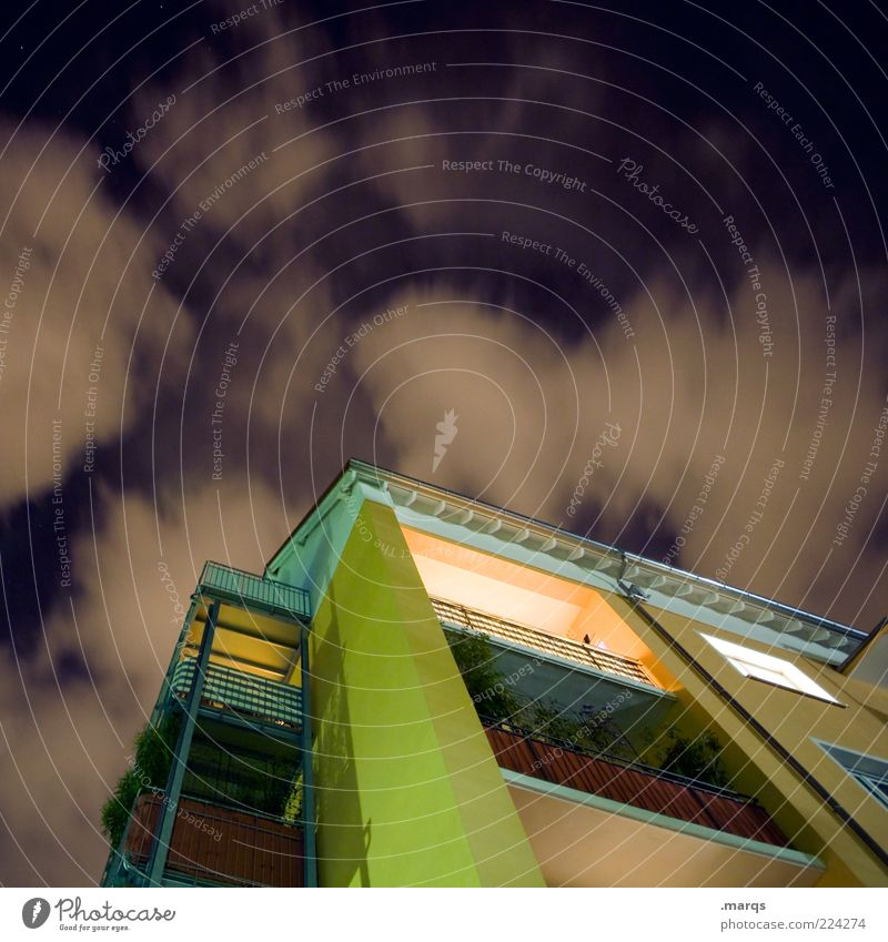Clouds House (Residential Structure) Architecture Building Flat (apartment) Facade Lifestyle Perspective Modern Living or residing Illuminate Balcony Hip & trendy Night sky Skyward