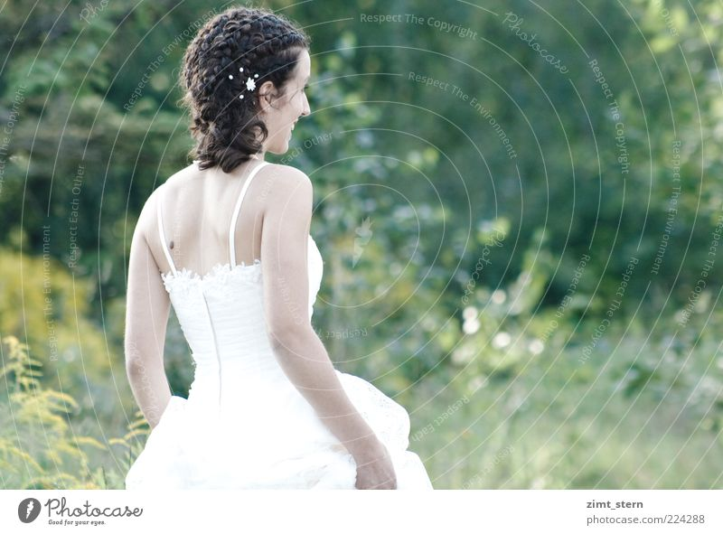 Human being Youth (Young adults) White Beautiful Summer Feminine Happy Beginning Wedding Happiness Stand Illuminate Joie de vivre (Vitality) Smiling Positive Young woman