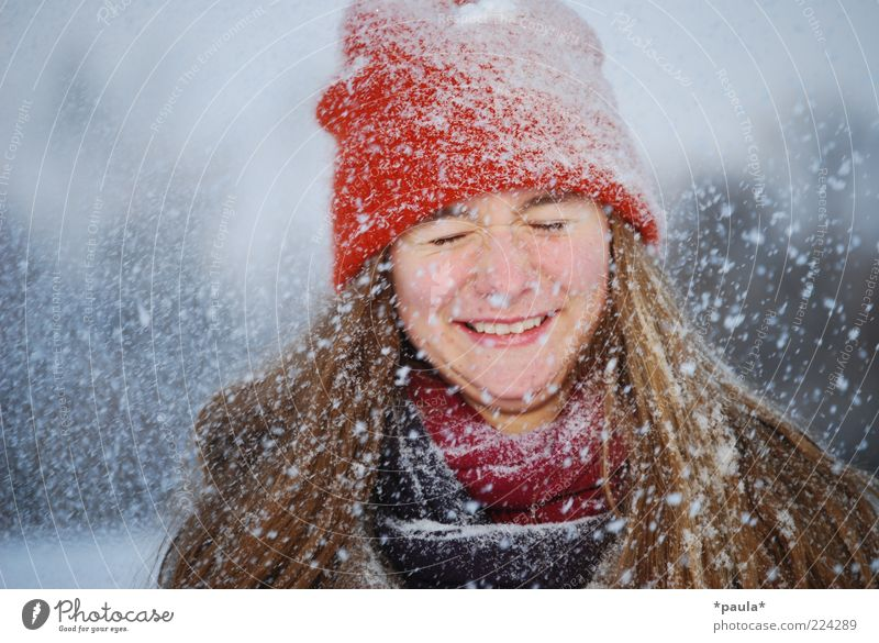 Human being Youth (Young adults) White Red Joy Winter Face Snow Feminine Movement Head Laughter Snowfall Brown Funny Free