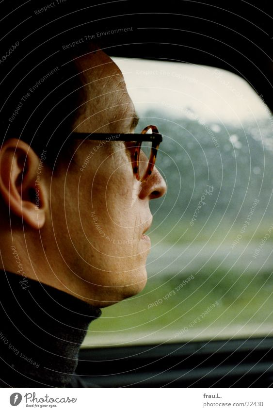 in the car Motoring Rain Highway Silhouette Eyeglasses Summer Man Vacation & Travel In transit Face Portrait photograph Agent Transport Weather more car-worthy