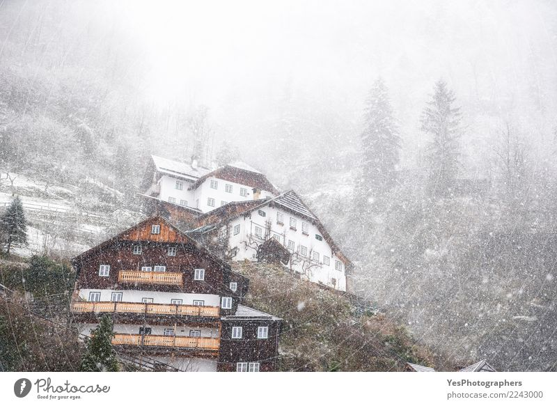 Dense snowfall over mountain village Vacation & Travel Mountain House (Residential Structure) New Year's Eve Climate change Weather Bad weather Storm Gale Snow