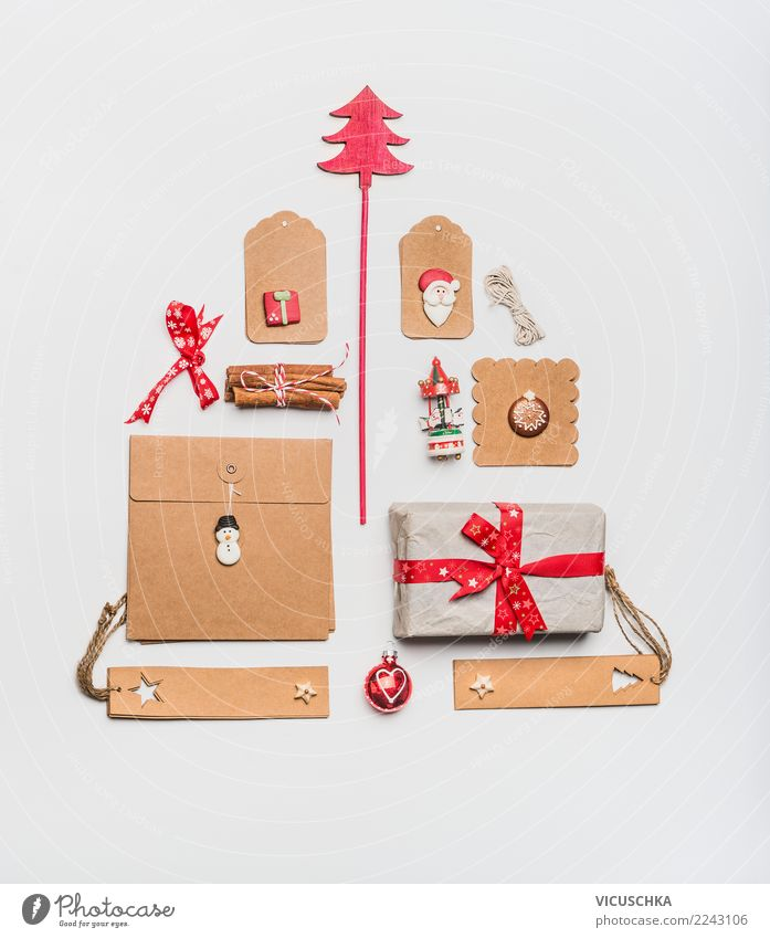Christmas tree made with kraft paper packaging Shopping Style Design Winter Feasts & Celebrations Christmas & Advent Decoration Sign Ornament Tradition