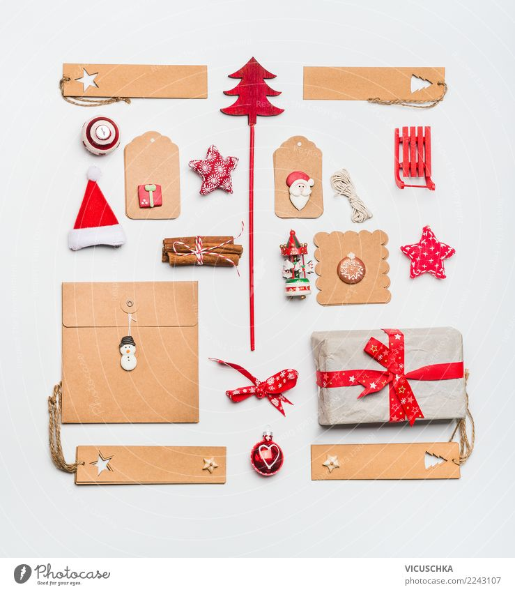 Christmas Still Life With Kraft Paper Shopping Style Design Winter Party Feasts & Celebrations Christmas & Advent Decoration Sign Ornament Tradition