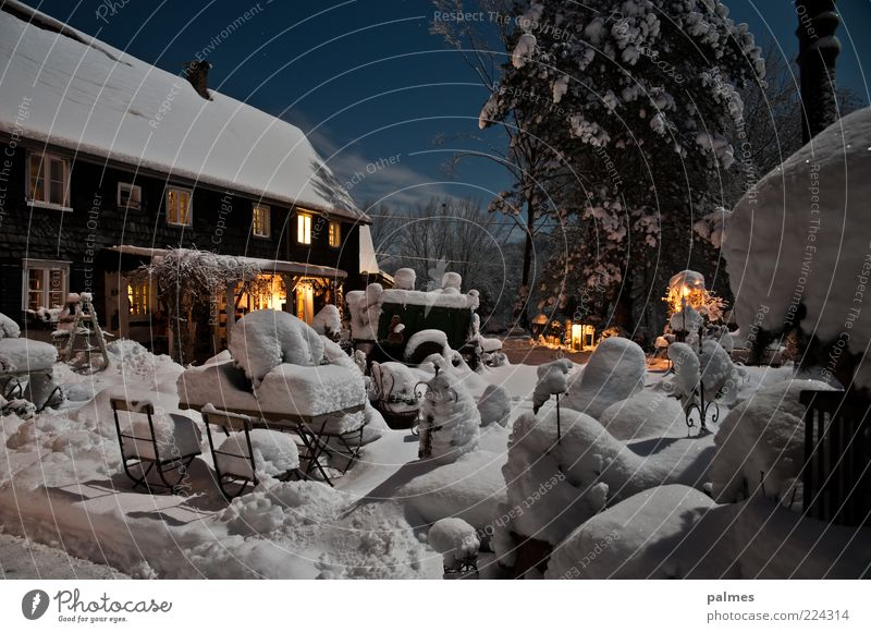 Nature Old Clouds Snow Garden Environment Architecture Moody Building Bizarre Surrealism Night sky Rural Night shot Emotions Dream house