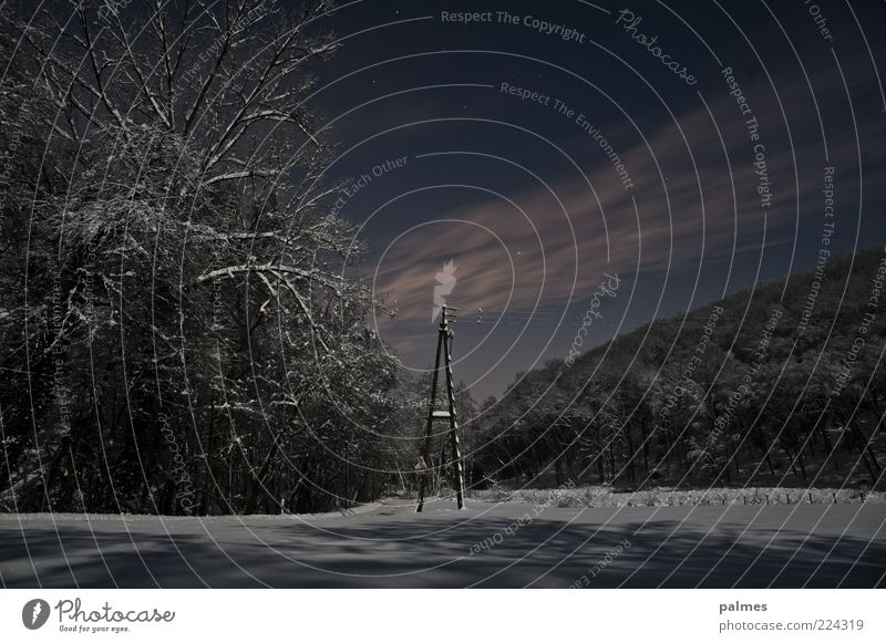Nature Clouds Winter Dark Snow Emotions Landscape Environment Moody Weather Snowscape Night sky Rural Remote Telegraph pole Edge of the forest