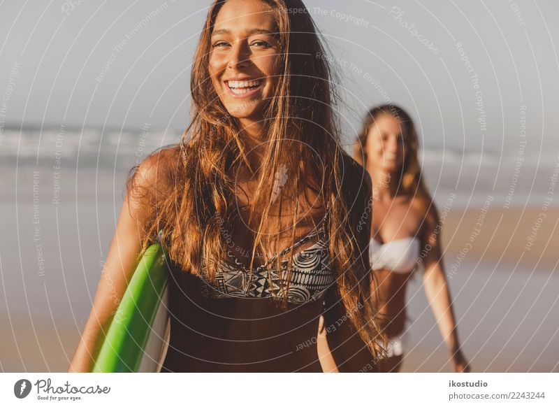 Let's surf Lifestyle Happy Beautiful Body Relaxation Vacation & Travel Summer Beach Ocean Waves Sports Woman Adults Friendship Sand Bikini Brunette Smiling