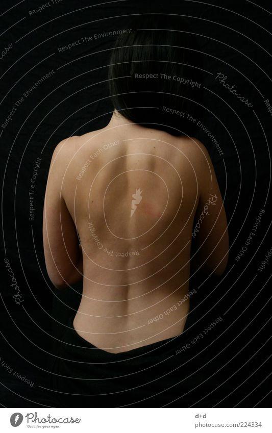 Woman Black Feminine Naked Skin Back Esthetic Shoulder Black-haired Contrast Human being Naked flesh Womens back Backless