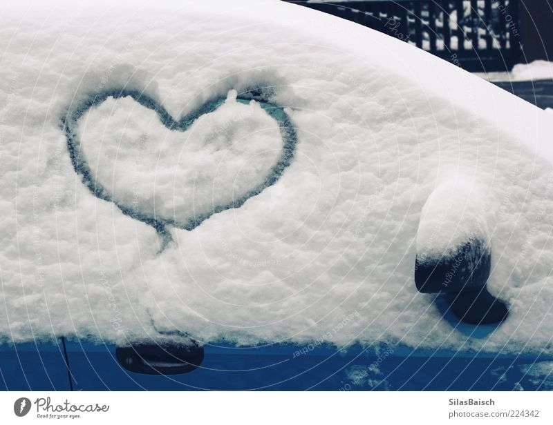 I Love Snow Winter Vehicle Car Heart Sincere Blue White Colour photo Exterior shot Day Heart-shaped Painted Symbols and metaphors Snow layer Car Window Deserted