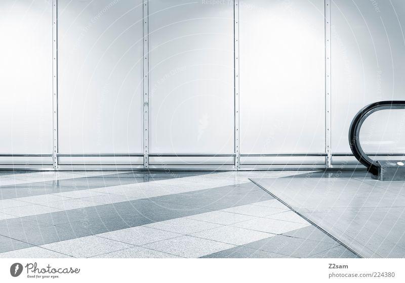 I just like it Architecture Stairs Escalator Esthetic Sharp-edged Elegant Cold Modern Blue Design Mobility Arrangement Calm Stagnating Symmetry Puristic Line