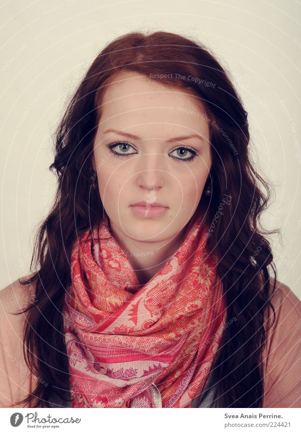 Human being Youth (Young adults) Beautiful Face Feminine Cold Hair and hairstyles Fashion Pink Skin Young woman Curl Long-haired Scarf Motionless Red-haired