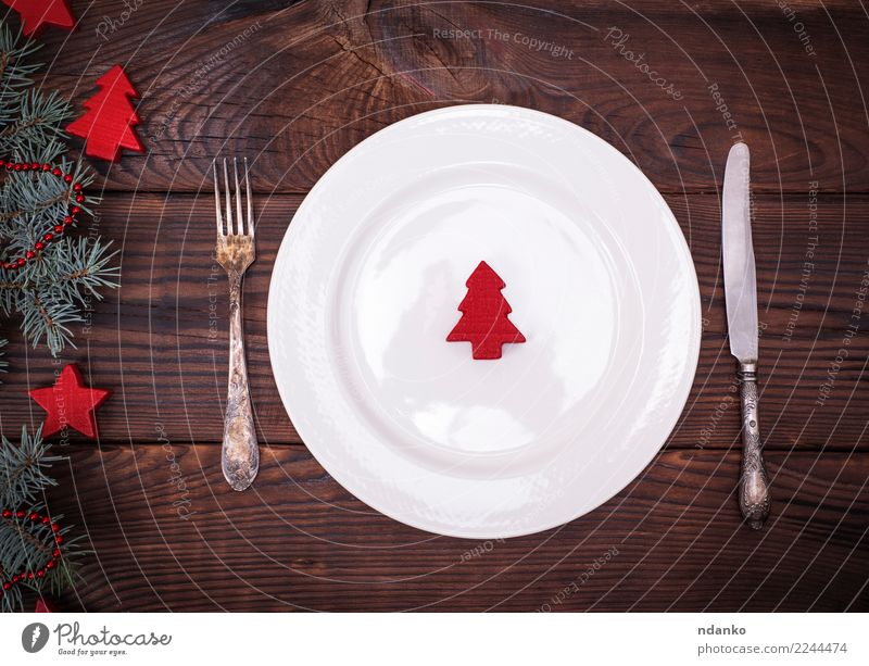 empty white plate and iron vintage cutlery Christmas & Advent White Tree Red Dish Wood Feasts & Celebrations Brown Above Decoration Modern Table Clean Kitchen
