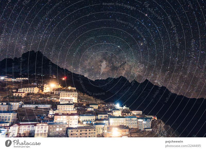 Milky way over mountain range at Namche Barzaar,Nepal Landscape Earth Night sky Stars Mountain Thamserku Asia Village Blue Multicoloured Astrophotography Idyll