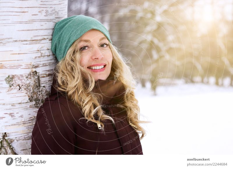 Woman Human being Nature Youth (Young adults) Young woman Landscape Tree Winter Adults Lifestyle Feminine Snow Laughter Happy Leisure and hobbies Park