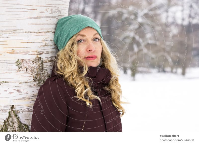 blonde woman in a wintry park landscape Lifestyle Leisure and hobbies Winter Snow Winter vacation Human being Feminine Young woman Youth (Young adults) Woman