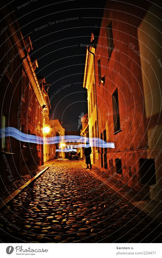 Alley at night Night life 2 Human being Cloudless sky Night sky Town Old town Lanes & trails Going Serene Idea Inspiration Time Exterior shot Evening Shadow
