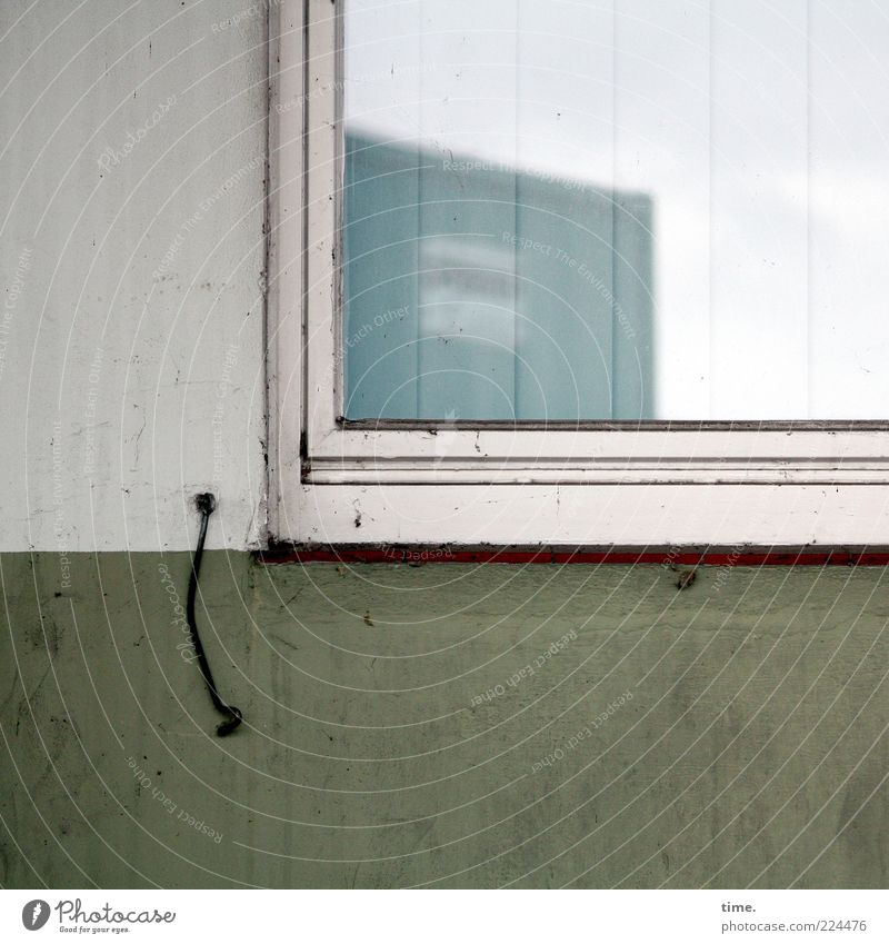 Sky White Green Wall (building) Window Wall (barrier) Dirty Shabby Hang Window pane Container Varnish Checkmark Slat blinds Silhouette Swing