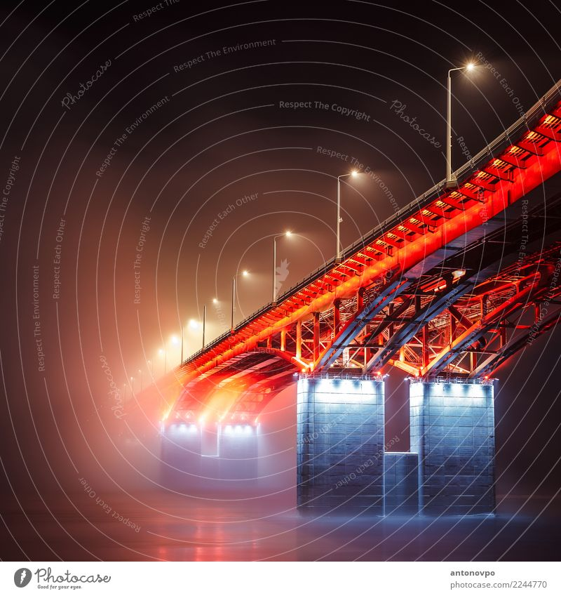 4th bridge Krasnoyarsk Bridge Town Blue Red Black Architecture Building krasnoyarsk City life Fog Colour photo Deserted Night Light