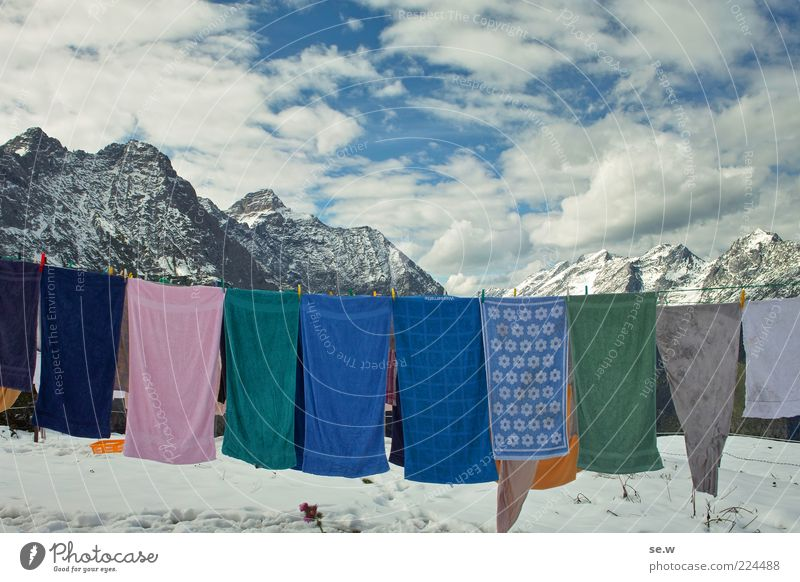 washing day Sky Clouds Autumn Winter Snow Alps Mountain Chalk alps Karwendelgebirge Snowcapped peak Towel Laundry Clothesline Washing Freeze Cleaning