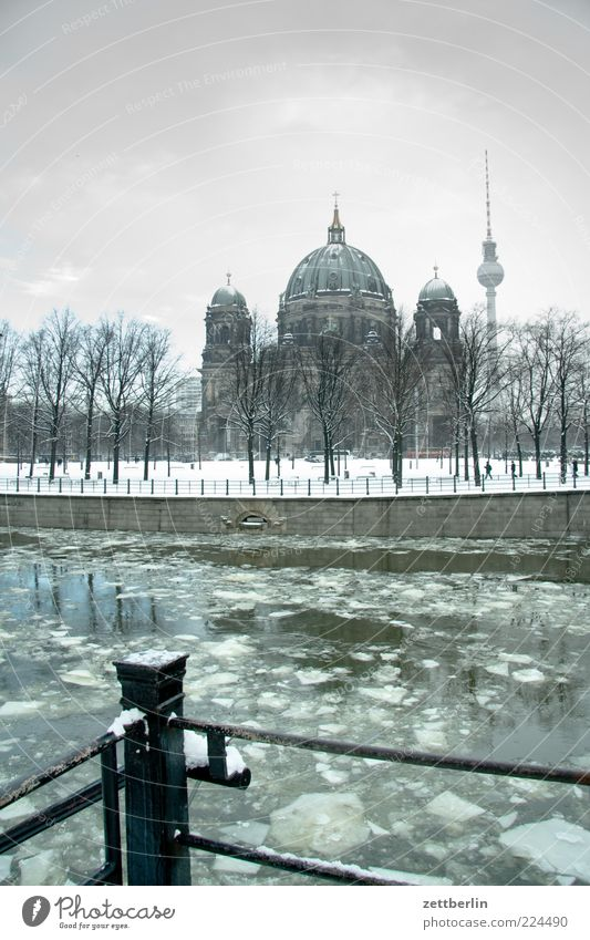 Spree, Cathedral, F-Tower Landscape Elements Water Winter Weather Ice Frost Snow Park Capital city Downtown Church Dome Manmade structures Building Architecture
