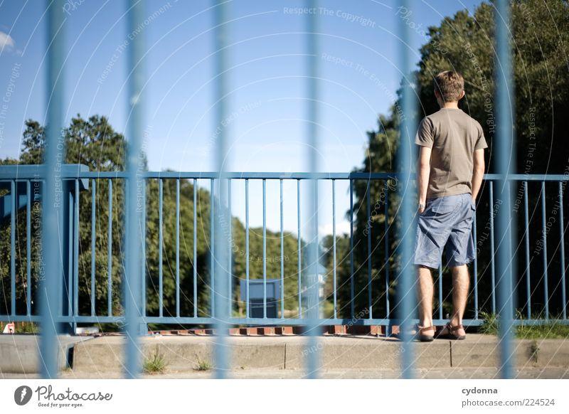 Human being Sky Calm Life Environment Lanes & trails Style Bridge Break Observe Serene Boredom Bridge railing Wanderlust Easygoing Man