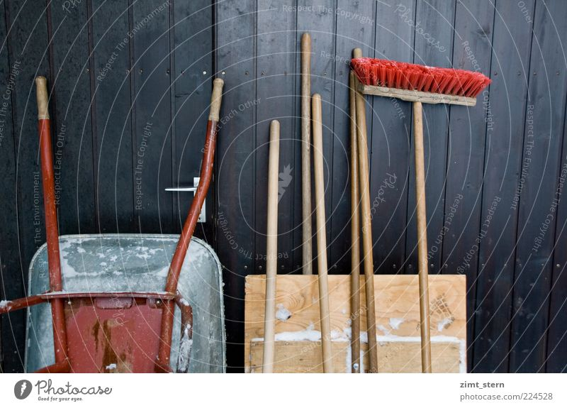 downside of winter Gardening Construction site Tool Broom Gate Garage door Broomstick Wheelbarrow Snow shovel Wood Work and employment Brown Red Diligent