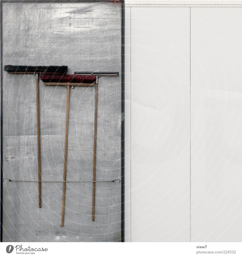 Order of tools Broom Brush Metal Line Stripe Old Authentic Simple Arrangement Pure hung Arranged Colour photo Exterior shot Close-up Detail Deserted