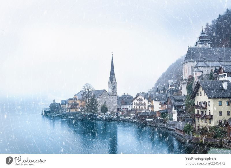 Hallstatt town on a snowy day Vacation & Travel Mountain House (Residential Structure) New Year's Eve Weather Bad weather Storm Snow Snowfall Alps Lake Church