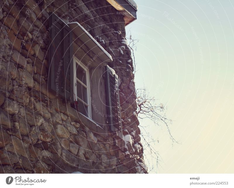 Sky Old Wall (building) Window Wall (barrier) Building Facade Castle Blue sky Shutter Twigs and branches Stone wall