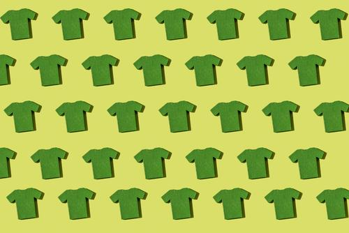 Green T-shirt repeated pattern Style Fashion Clothing Shirt Collection White Colour Stack shirts Accumulation Repeating Miniature colorful background Cotton