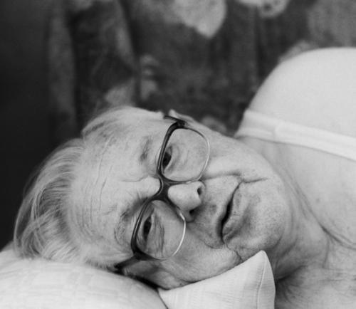 Lunch nap - awakened Wake up Man Senior citizen Eyeglasses Sofa Sleep Cushion Grandfather Undershirt Portrait photograph rested 80 after-lunch nap Relaxation