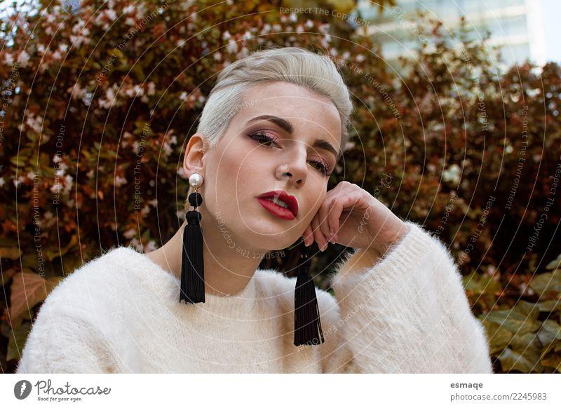 Portrait fashion woman Lifestyle Elegant Style Design Beautiful Face Feminine Androgynous Nature Park Observe Advice Think Authentic Cool (slang) Fantastic