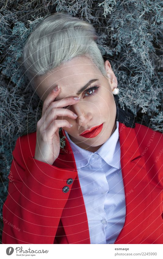 portrait woman with red suit Lifestyle Luxury Elegant Style Beautiful Feasts & Celebrations Christmas & Advent New Year's Eve Human being Feminine Androgynous