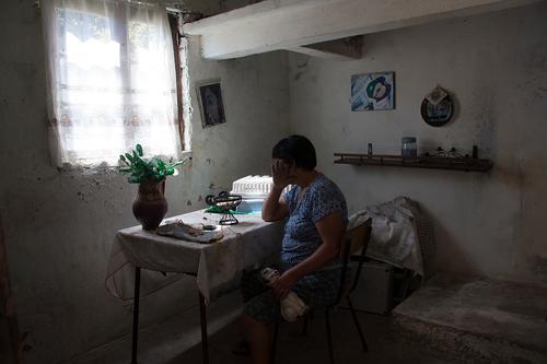 Woman kitchen Handcrafts House (Residential Structure) Interior design Kitchen Feminine Mother Adults Body 1 Human being 45 - 60 years Flower Village Window Cat