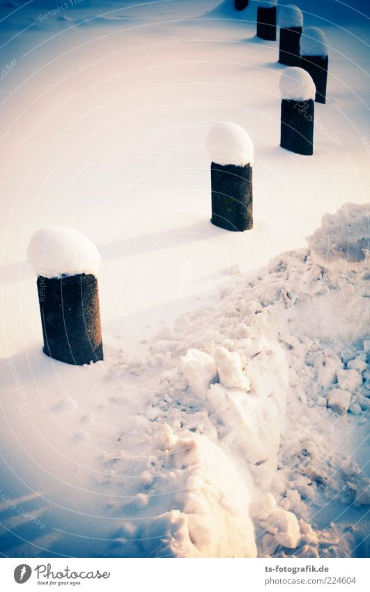 winter bollard snaise Environment Nature Landscape Elements Winter Weather Snow Lanes & trails Cold Blue White Row Bollard Covered Snow layer snow surface