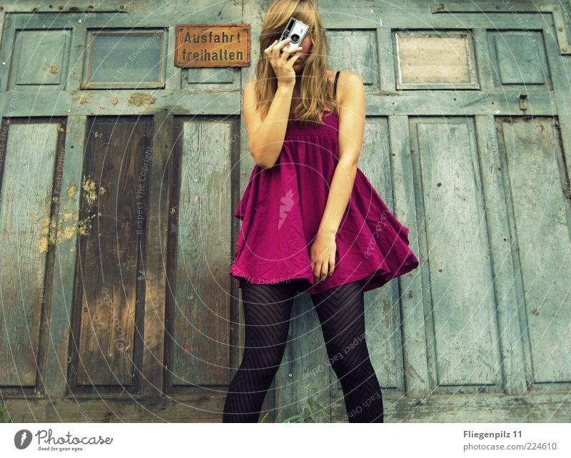 Human being Youth (Young adults) Summer Young woman Joy Feminine Funny Style Lifestyle Fashion Pink Blonde Happiness Joie de vivre (Vitality) Photography Retro