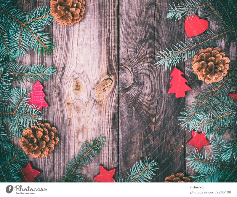 gray wood background with green spruce Winter Decoration Feasts & Celebrations Christmas & Advent New Year's Eve Tree Wood Old Fresh Gray Green Red Seasons