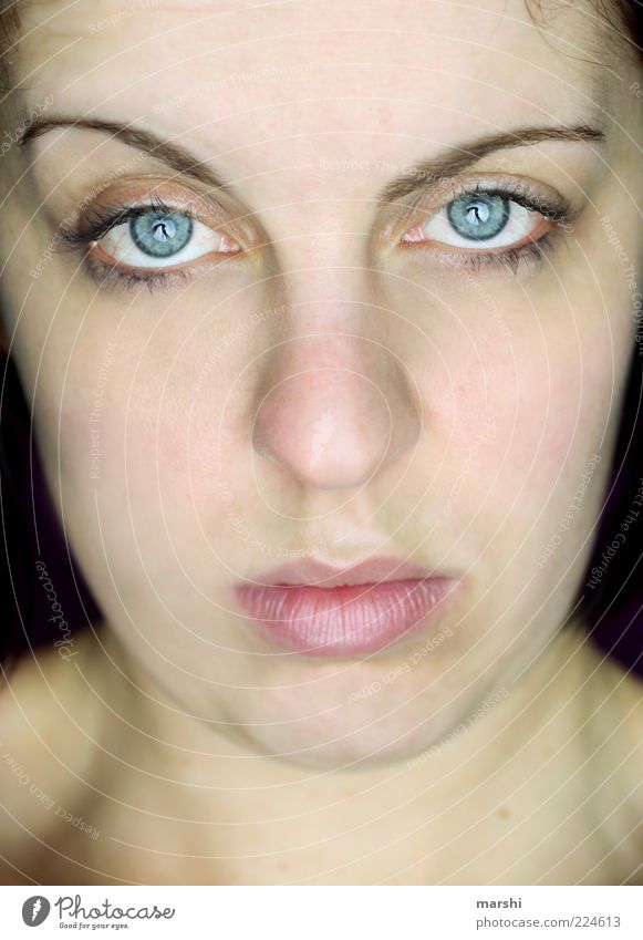 Woman Human being Blue Face Eyes Feminine Emotions Moody Adults Mouth Skin Cool (slang) Natural Lips Observe Boredom