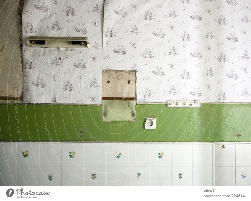 life traces Decoration Wallpaper Room Line Stripe Old Authentic Dirty Simple Past Transience Tile Colour photo Subdued colour Interior shot Close-up Detail