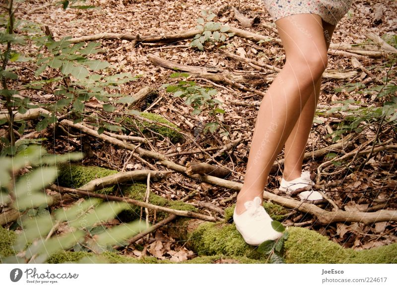 blurred leg. Style Leisure and hobbies Trip Feminine Young woman Youth (Young adults) Woman Adults Life Legs 1 Human being Nature Plant Bushes Moss Forest Skirt