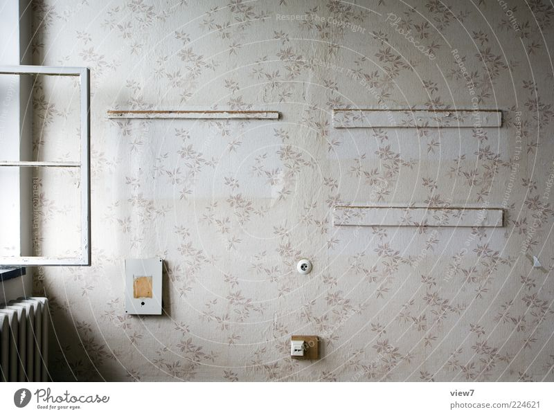 Old Window Room Flat (apartment) Empty Stripe Authentic Decoration Transience Simple Wallpaper Decline Past Living room Shabby Uninhabited