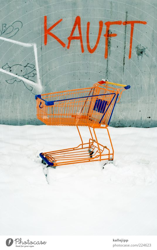 Winter Loneliness Snow Graffiti Orange Shopping Empty Lifestyle Advertising Economy Word Trade Marketing Offer Consumption Shopping Trolley