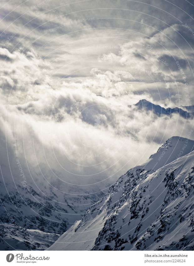 Nature White Blue Clouds Calm Winter Loneliness Far-off places Cold Snow Freedom Mountain Landscape Ice Fog Rock