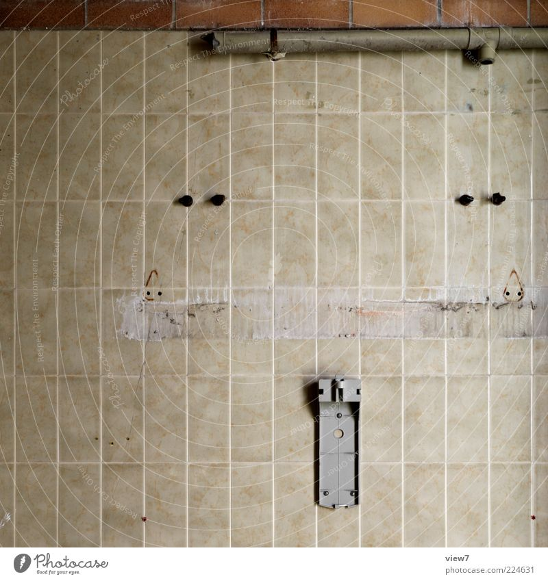 Old Line Brown Room Dirty Empty Broken Stripe Authentic Change Bathroom Transience Simple Tile Wallpaper Decline